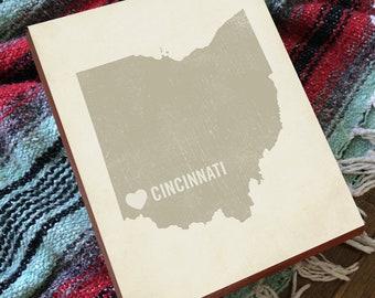 Cincinnati Art - Cincinnati Ohio - Cincinnati Wall Art - Cincinnati Wedding Gift - Cincinnati Artwork - Cincinnati Art Print - Cincinnati Oh