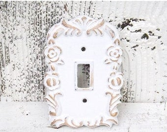 ON SALE Shabby Chic Light Switch Cover /White with Gold Single Light Switch Plate / Decorative Light Switch Cover