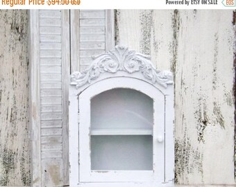 ON SALE White Rustic Wood Cabinet with Shelf~ Shabby Chic Bathroom Shelf~Shabby Chic~French Cottage~Rustic Cabinet