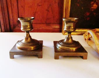 Vintage Brass Candle Holders, Square Base Candlesticks, Low Brass Candlestick Holders, Brass Decor, Holiday Brass Decor