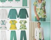 Easy Scrub Top Pattern Jacket Pants Scrubs Misses Size 10 - 12 - 14 - 16 - 18 Uncut Simplicity 3542