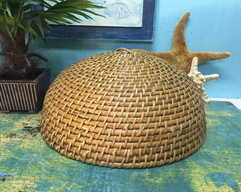 Vintage Woven Wood and Wicker Rattan Basket Dome Food Cover Cloche Boho Wall Art at CastawaysHall - Ready to Ship