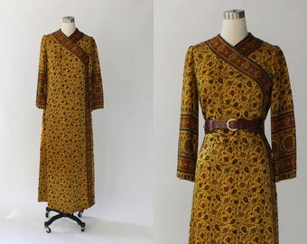 1970s Treacy Lowe Indian Cotton Dress // Long Floral Designer Vintage Tunic Bohemian Ethnic Dress // Small