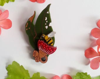 Sweeping Blossom Wearable Art Brooch by Winnifreds Daughter