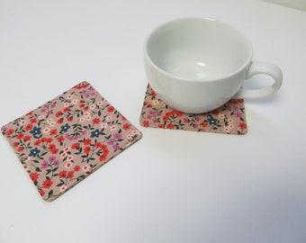 Set Of 2 Fabric Coasters/Flower On Pinkbeige