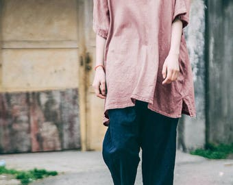 Loose Fitting Linen and Cotton Shirt Blouse for Women - Women Clothing