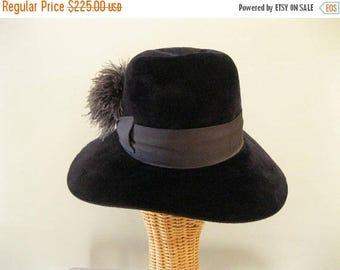 ON SALE Vintage 60s Mens Fur Felt Hat - Herbert Johnson Navy Fedora -Rare Poet Hat - Indiana Jones