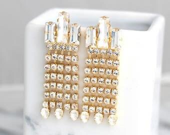 Bridal Earrings, Chandelier Earrings, Swarovski Chandelier earrings, Bridal Dangle Earrings, Art Deco Earrings, Vintage Bridal Earrings