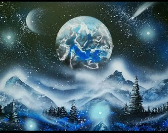 SPRAY PAINT ART 14x22 Cosmos Galaxy Blue Snow Landscape Painting Planet & Moon