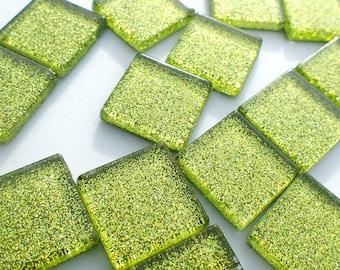 Green Glitter Tiles - 20mm Mosaic Tiles - 25 Metallic Glass Tiles - Shamrock Green