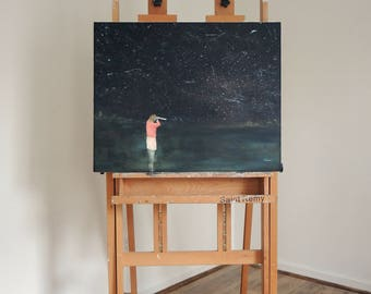 """Original painting. girl painting on canvas. under the stars. figurative wall art. astronomy night sky constellation """"Star Lite"""""""
