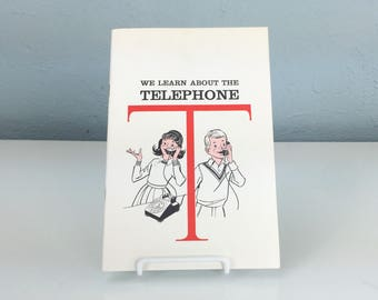 Vintage We Learn About the Telephone Brochure, How To Use a Rotary Phone Book, Vintage Manners, Movie Prop Book, Theater