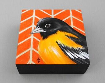 Oriole painting - orange songbird art - orange bird painting - baltimore oriole - birdwatcher gift - realistic wildlife art