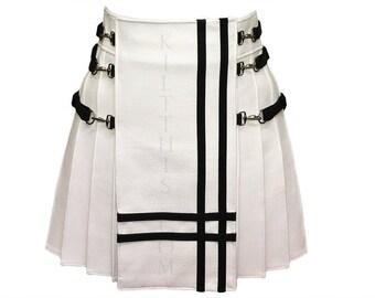 Interchangeable White Leather Kilt Black Double Cross Design Inside Pockets Leather Straps Custom Fit Adjustable