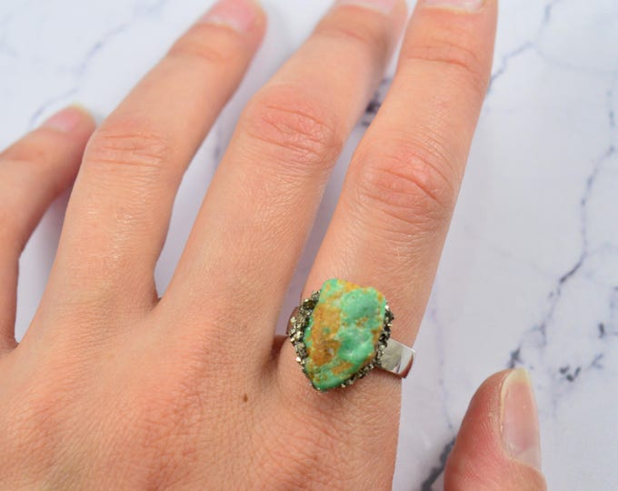 Turquoise Ring, Genuine Arizona Turquoise, Birthstone Ring, December Birthstone,  Arizona Turquoise Adjustable Ring, Turquoise Jewelry