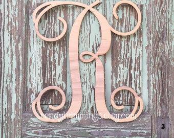 "SALE- ready to ship- letter R- 20"" Single Letter Monogram- 1 available- Wooden Letter, Door Hanger Wreath"