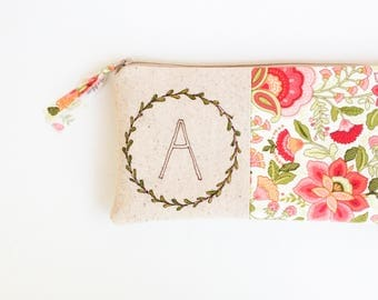 Baby Shower Hostess Gift, Monogram Clutch, Personalized Host Gift, Initial Clutch, Shower Hostess Thank You Gift, Peach Initial Clutch