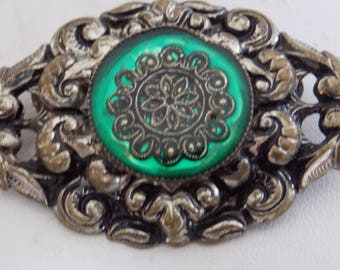 Vintage brooch, floral repousse and green enamel antique brooch, art nouveau brooch, antique jewelry