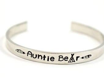 Auntie Bear - Handstamped Bracelet - Aunt Gift - Aunt Bracelet - New Aunt Gift - Hand Stamped Bracelet - Stacking Bracelets