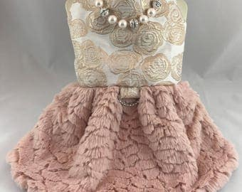 A touch of Elegance, rose gold minky style skirt, elegant and dainty dog dress, flower girl dog dress, bridesmaid and maid of honor dress