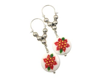 Christmas Earrings, Lampwork Earrings, Christmas Jewelry, Glass Bead Earrings, Dangle Artisan Earrings, Red Flower Earrings Lampwork Jewelry