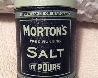Vintage MORTON'S Salt Tin Box Blue Cream Americana Advertising