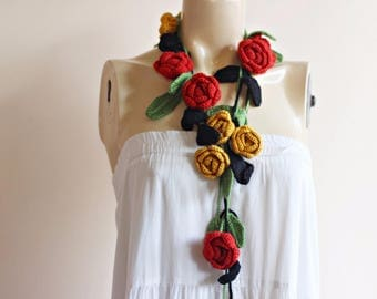 Rose Scarf-Red and Mustard Roses with Black and Green Leaves -Lariat Necklace