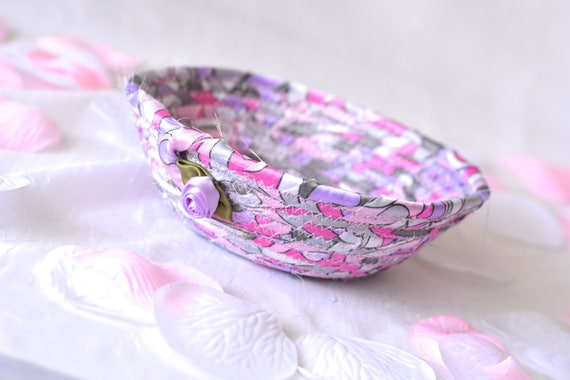 Violet Candy Dish, Handmade Artisan Fabric Basket, Violet, Pretty Gray and Pink Sateen Basket, Pink Candy Bowl, Cute Desk Accessory