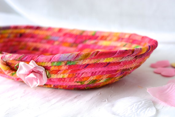 Magenta Fabric Basket, Handmade Artisan Bowl, Cute Key Tray, Desk Accessory Basket, Lovely Pink Quilted Bowl, Ring Dish
