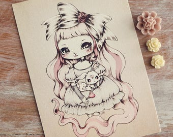 Doll - Open edition art postcard - made to order