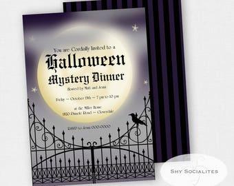 Halloween Invitation | Skull Moon Invitation | Mystery Dinner | Instant Download TEMPLATE | Editable Text PDF