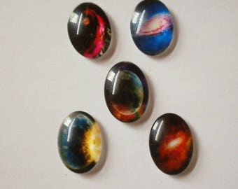 3 - Set of 5 stars 25 * 18 mm glass dome cabochons