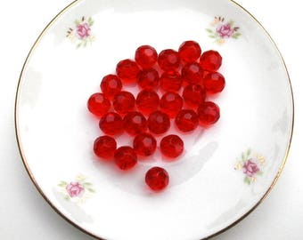 205 set of 10 Red faceted glass round beads