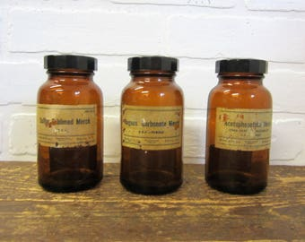 Collection of Three Vintage Merck Pharmacy Apothecary Drug Medicine Amber Bottles