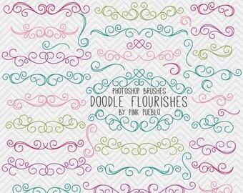 BACK TO SCHOOL Sale Doodle Flourishes Swirls Photoshop Brushes, Digital Flourish Swirl Photoshop Brushes, Great for Weddings - Commercial an
