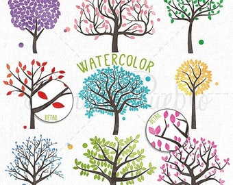 BACK TO SCHOOL Sale Watercolor Tree Silhouettes Clipart Clip Art, Family Tree Clipart Clip Art - Commercial and Personal Use