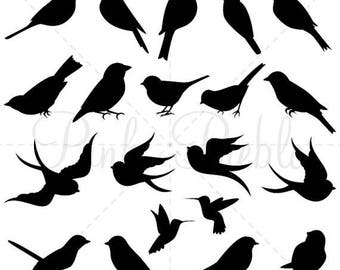BACK TO SCHOOL Sale Bird Silhouettes Clip Art Clipart, Bird Clip Art Clipart - Commercial and Personal