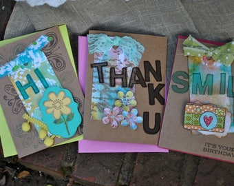 """Set of Three Greeting Cards, Thank you, Birthday, and Thinking of You """"Hi"""" Card"""