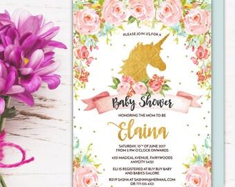 Unicorn Baby Shower Invitation, Magical Whimsical Enchanting Gold Glitter Floral Unicorn Printable Invitation, Girl Baby Shower Invite