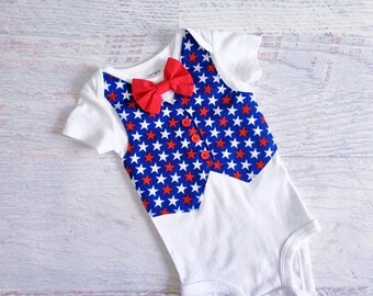 Size 6 Months READY TO SHIP 4th of July Red White and Blue Star Tuxedo Bodysuit Vest with Bow Tie