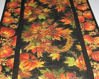Sale Christmas in July Fall Table Runner Pumpkins, quilted, focus fabrics from Timeless Treasure, Thanksgiving