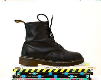 SALE Amazing 90s Black Dr. Martens Boots Size Women 8 8 1/2 // Vintage Doc Marten Black Boots Size 6 UK Made in England