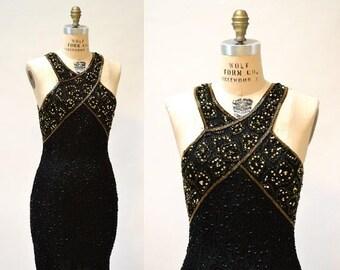 SALE Vintage Beaded Dress Size Medium Large Black and Gold Art Deco// 90s Prom Dress Black Metallic Body Con Beaded dress Size Medium Large