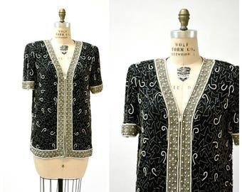 Vintage Black Beaded Jacket Top Size Large Silver Metallic Art Deco Jacket// 80s Trophy Sequin Jacket Shirt Large Laurence Kazar
