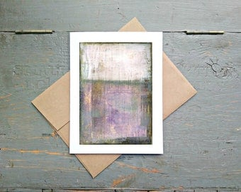"""Abstract Art Card, 5x7"""" Greeting Card with Kraft Brown Envelope, Mixed Media Card, Recycled Card, Eco-Friendly, Purple, Lavender """"Provence"""""""