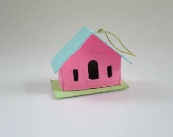 Pink Putz House Ornament, Mini Cardboard Putz House, Upcycled Mini House, Christmas Village, Gifts for Co worker, Gift Box, Kitsch Decor