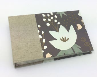 Mini Photo Album, Natural Linen and Flowers, holds 36 4x6 photos, In Stock