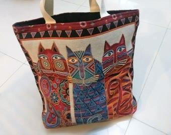Women bag canvas, handbag, beautiful colorful cat pattern totes bag, Large Shoulder Bag, Beach Bag