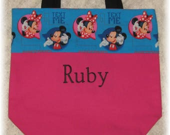 Minnie Mouse personalized preschool daycare birthday gift idea hot pink canvas tote bag kids toddler library book bag little girl
