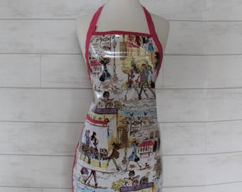 Womens Waterproof Apron Crafters Apron in Paris Fashion Print